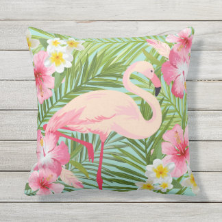 Tropical Flowers with Pink Flamingo Cushion