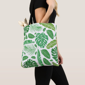 Tropical green leafs pattern tote bag