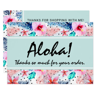 Tropical Hawaiian Hibiscus & Palm Leaf Thank You Card