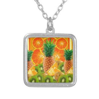 tropical  HAWAIIAN PINEAPPLE & ORANGE SLICES KIWI Silver Plated Necklace