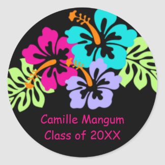 Tropical Hibiscus - Graduation Circle Stickers