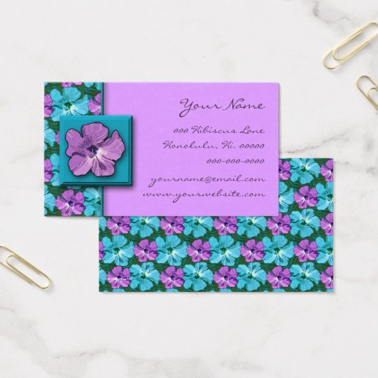 Tropical Hibiscus Turquoise and Purple Business Card