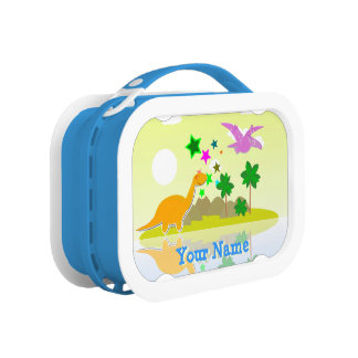Tropical Island Cartoon Dinosaurs Lunch Boxes