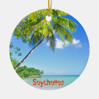 Tropical island in Seychelles Round Ceramic Decoration