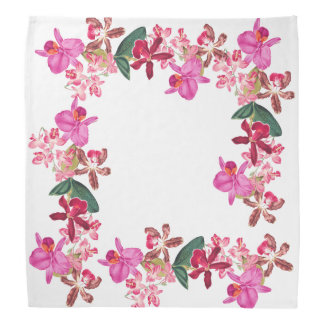 Tropical Island Orchid Flowers Floral Bandana