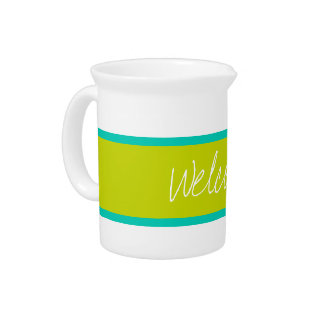 Tropical Island Sea and Lime Green Personalized Pitcher