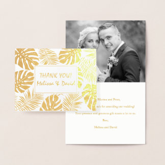 Tropical leaves wedding Thank you photo gold Foil Card
