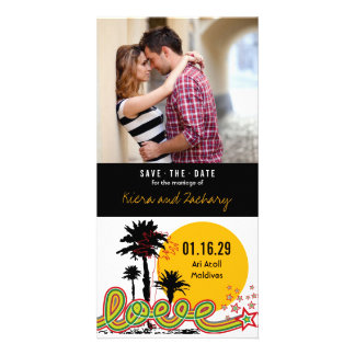 Tropical Love Summer Palm Trees Save The Date Card