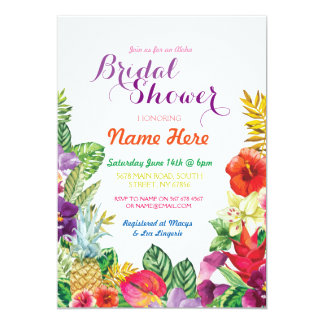 Tropical Luau Aloha Chalk Bridal Shower Invite