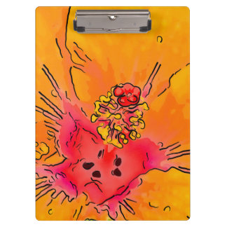 Tropical Orange Hibiscus Flower Blossom Art Clipboards