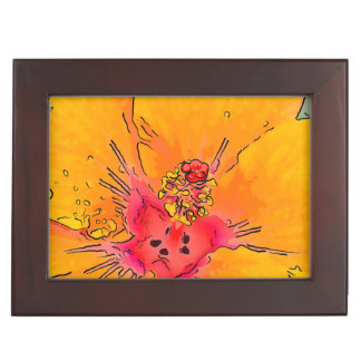 Tropical Orange Hibiscus Flower Blossom Art Memory Boxes