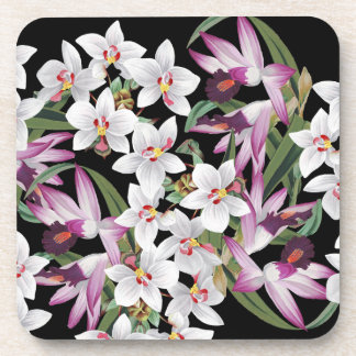 Tropical Orchid Floral Flowers Botanical Coaster