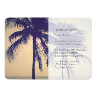 Tropical palm beach destination wedding invitation