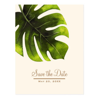 Tropical Palm Leaf Summer Elegant Save the Date Postcard