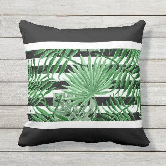 Tropical Palm Leafs Black White Stripes Pattern Cushion