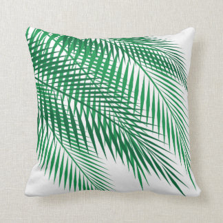 Tropical Palm Leaves on White Throw Pillow