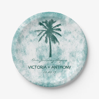 Tropical Palm Tree Beach Wedding Paper Plate