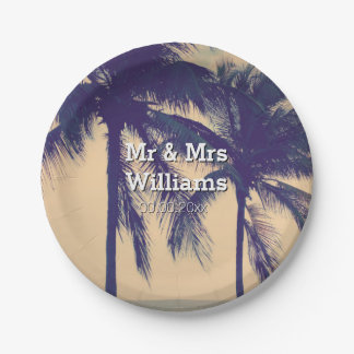 Tropical palm tree destination wedding party plate 7 inch paper plate