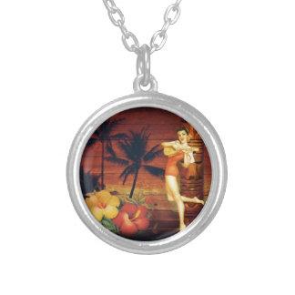 tropical Palm Tree totem pole hawaiian girl aloha Silver Plated Necklace