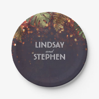 Tropical Palms and String Lights Beach Wedding 7 Inch Paper Plate