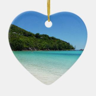 tropical paradise ceramic heart decoration