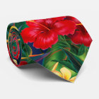 Tropical Paradise Hibiscus Hawaiian Two-Sided Tie