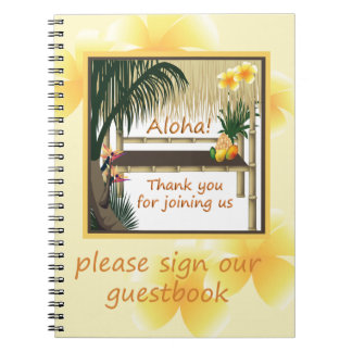 Tropical Party Tiki Hut Guestbook Notebook