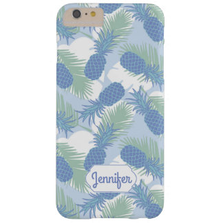 Tropical Pastel Pineapple Pattern | Add Your Name Barely There iPhone 6 Plus Case