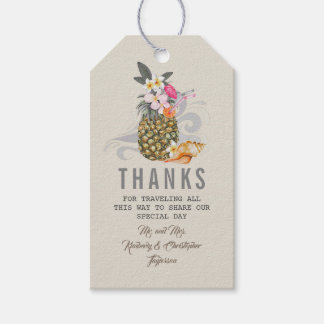 Tropical Pineapple Beach Wedding Gift Tags