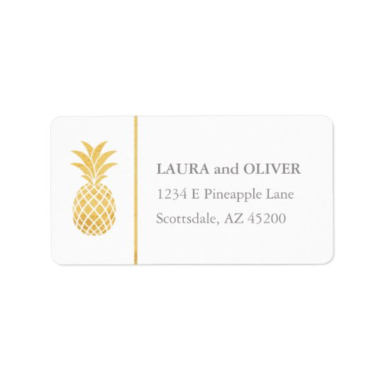 Tropical Pineapple Gold Address Labels