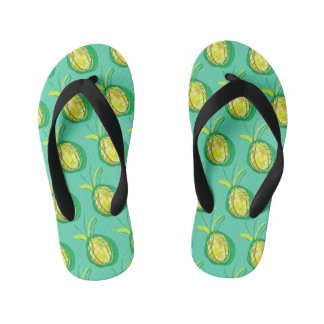 Tropical pineapple kid's jandals
