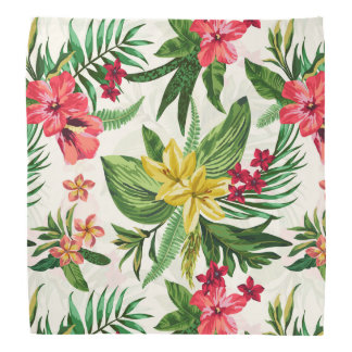 Tropical Pink And Yellow Flowers Bandana