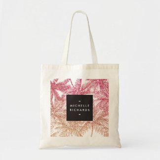 Tropical Pink/Bronze Glitter Palms Tote Bag