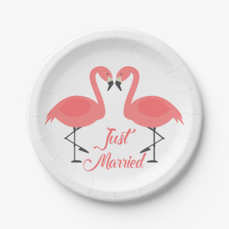 Tropical Pink Flamingo Just Married Wedding - Luau 7 Inch Paper Plate