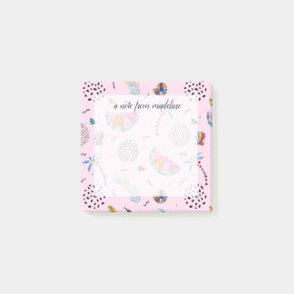 Tropical Pink Memphis Style Pattern Post-it Notes