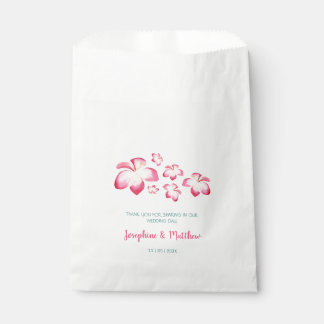 Tropical Plumeria Pink Watercolor Wedding Favour Bags