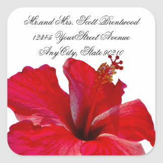 Tropical Red Hibiscus address labels Square Sticker