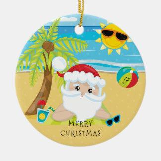 Tropical Relaxing Santa Hawaiian Christmas Christmas Ornament