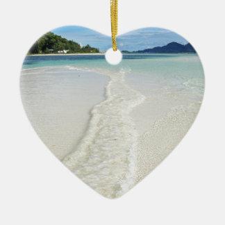 tropical sandbank ceramic heart decoration