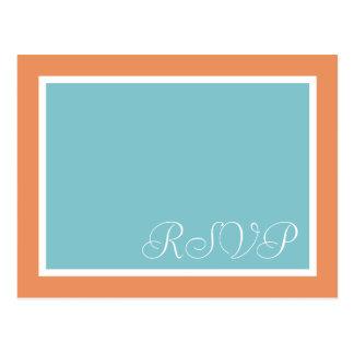 Tropical Spa Citrus Teal Wedding RSVP Postcards
