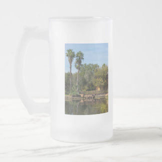Tropical Springs Paradise Frosted Glass Beer Mug
