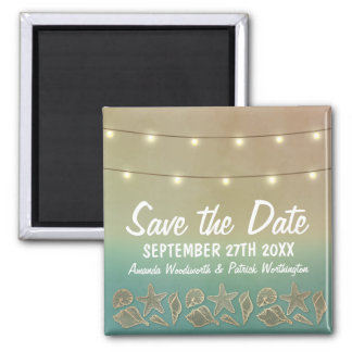 Tropical Starfish Beach Seashell Save the Date Square Magnet