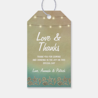 Tropical Starfish +Seashell Wedding Thank You Tags