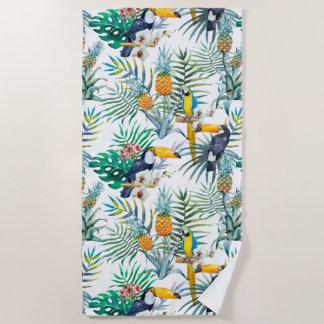 Tropical summer Pineapple Parrot Bird watercolor Beach Towel