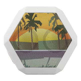 Tropical Sunset Landscape, Palm Trees White Bluetooth Speaker