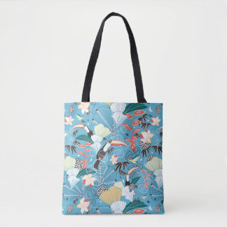 Tropical Texture With Toucans and Hummingbirds Tote Bag