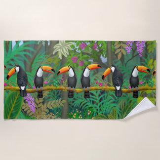 Tropical Toco Toucan Birds Beach Towel