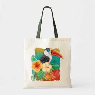 Tropical Toucan Hibiscus Watercolor Floral Tote Bag