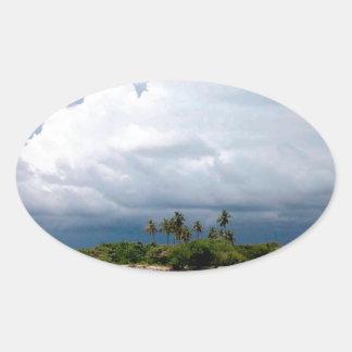 Tropical Treasure Cove Island Oval Sticker