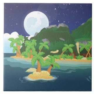 Tropical Treasure Island Large Square Tile